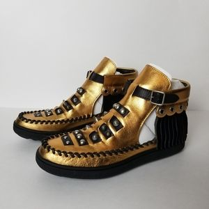 Coach Roccasin, Gold leather fringe ankle moccasin